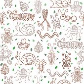 image of leaf insect  - Cute seamless patterns with insects and leaves - JPG
