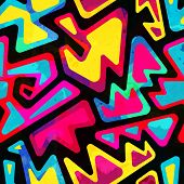 stock photo of psychedelic  - psychedelic colored seamless pattern with grunge effect - JPG