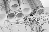 stock photo of architecture  - rolls of architecture blueprints  - JPG