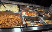 picture of chinese restaurant  - tasty spaghetti and rice with vegetables in the Chinese restaurant - JPG