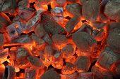foto of briquette  - Glowing Hot Charcoal Briquettes Close - JPG