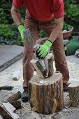 stock photo of firewood  - woodworking man with a splitting wedge preparing firewood in the garden - JPG