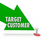 stock photo of clientele  - Target Customer arrow pointing at person or prospect for your company or business - JPG