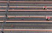 picture of railroad yard  - Top perspective view on many railway track lines - JPG
