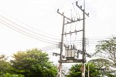 foto of substation  - Electric transformer substation in south of Thailand - JPG