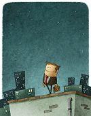 picture of entrepreneur  - illustration of an entrepreneur hero in top of the roof - JPG