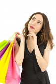 picture of daydreaming  - Attractive shopping woman looking to copy space and daydreaming - JPG