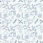 pic of proton  - Seamless sketch of science doddle elements on notebook - JPG