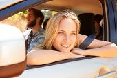 foto of road trip  - Group Of Friends In Car On Road Trip Together - JPG