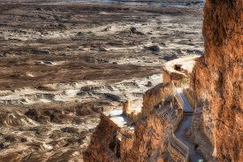 pic of masada  - Ruins of Masada with the desert of depression of the Dead Sea in the background - JPG