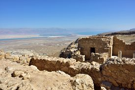 foto of masada  - View from the ruins of the zealot fortress Masada on the Dead sea - JPG