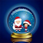 Snowglobe Santa Claus and Girl