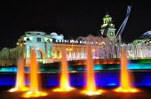 Kievsky Station And Fountain Rape Of Europe In Moscow At Night. poster