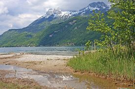 picture of annecy  - shores of Lake Annecy in the Spring - JPG